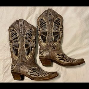 Corral brown with black sequin boots